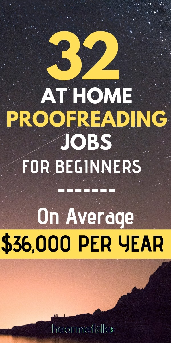 work from home jobs to become a proofreader. 32 online proofreading companies for beginners to make up to $36k per year. #proofreadingjobsforbeginners