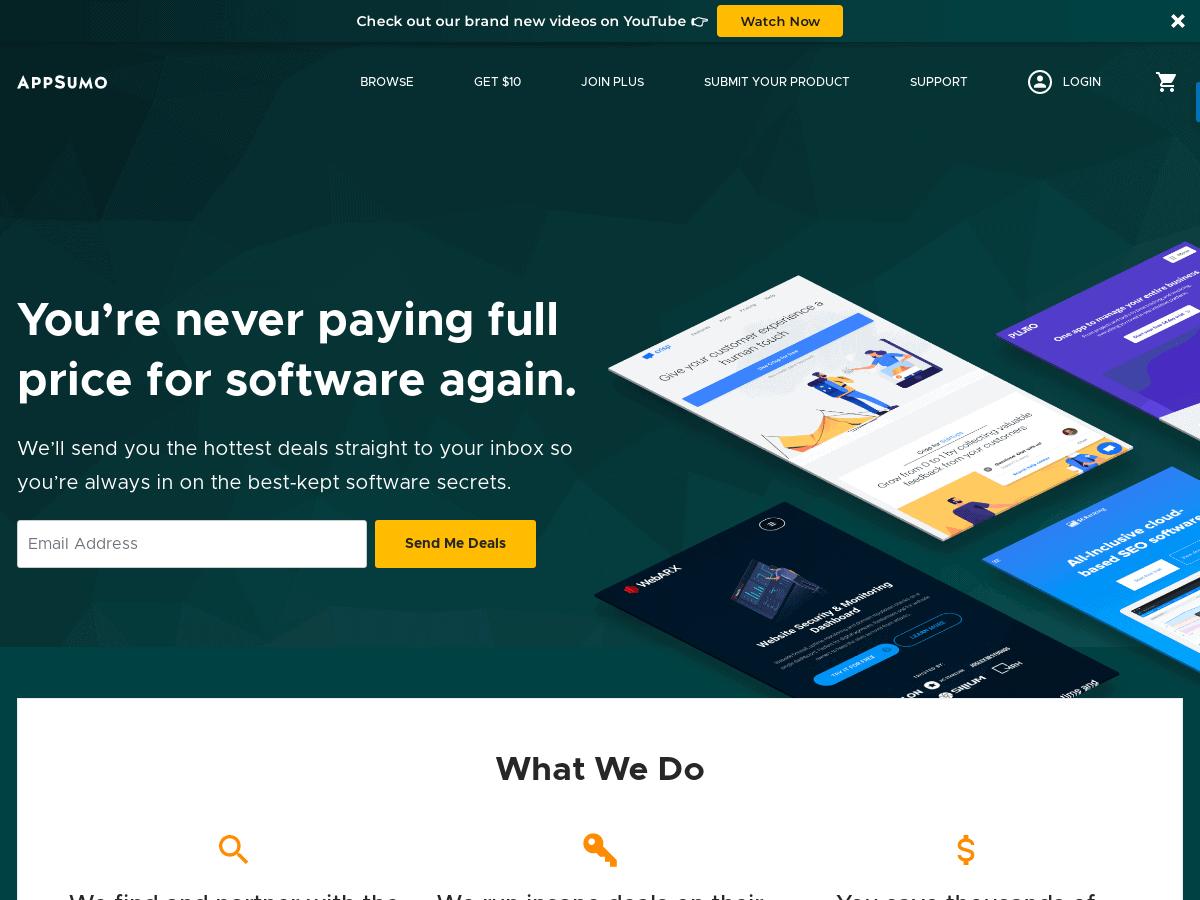 AppSumo 1 software deal site for entrepreneurs