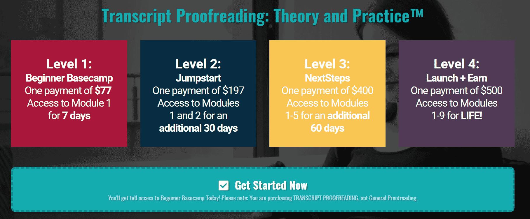 Transcript Proofreading Modules & Levels
