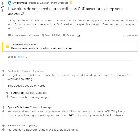Gotranscript Service Reviews on Reddit