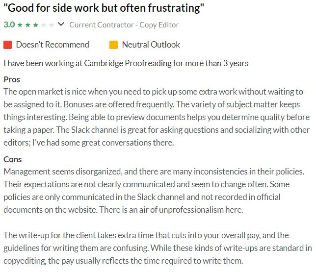 User Reviews on Glassdoor
