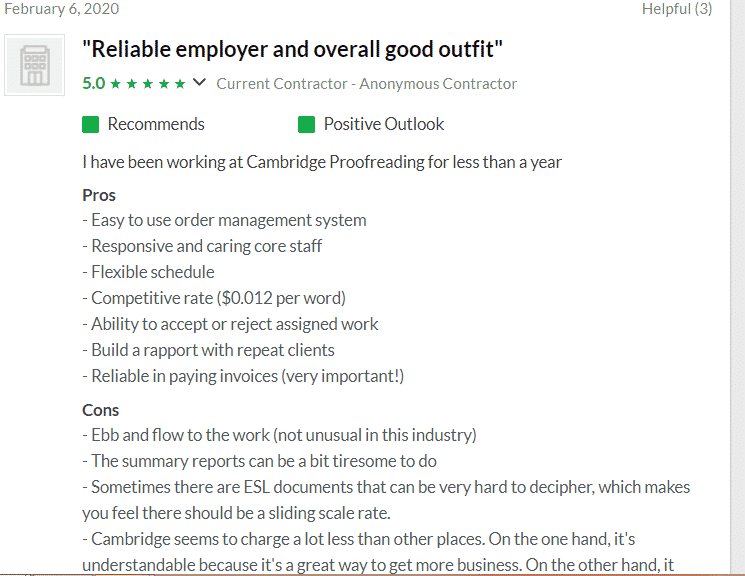 Cambridge Proofreading Employee Review on Glassdoor
