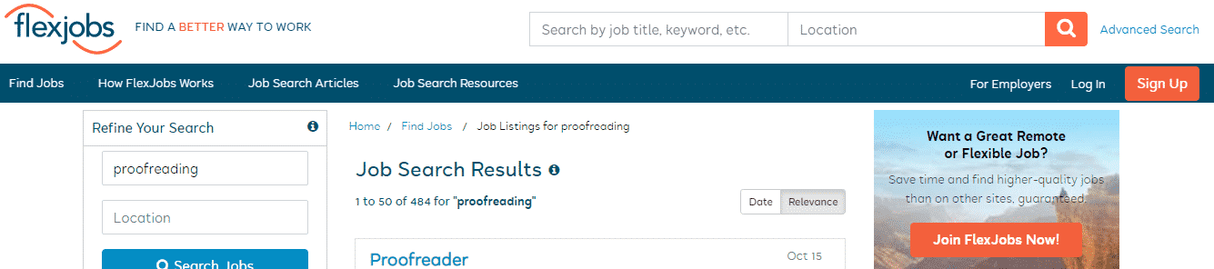 Proofreading Jobs for Beginners on Flexjobs