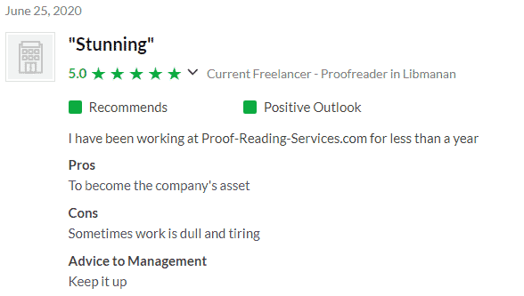 Proofreading Services Positive Glassdoor Review