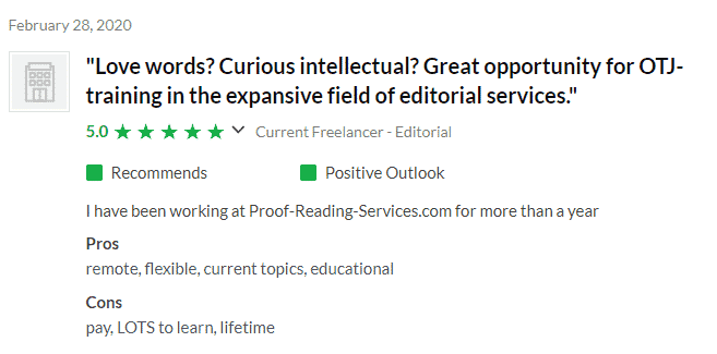 Proofreading Services Glassdoor Reviews with pros and cons