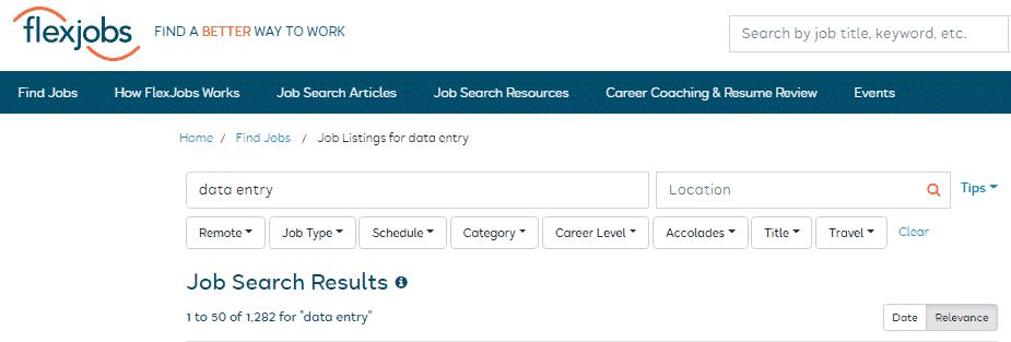 home based data entry jobs on flexjobs